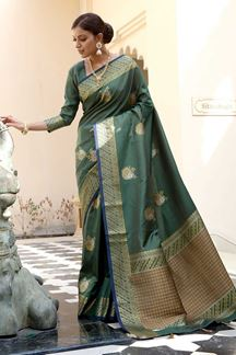 Picture of Glamorous Green Colored Printed Saree