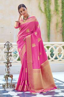 Picture of Bold Pink Colored Printed Saree