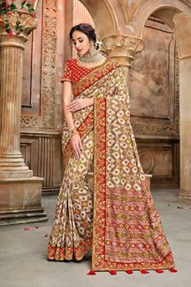 Picture of Exclusive Red & Cream Patola Silk Wedding Saree