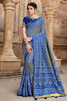 Picture of Blue Patola Silk Saree For Wedding Function