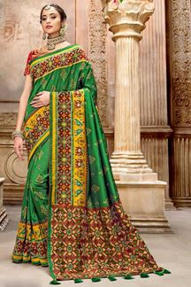 Picture of Jazzy Green Colored Festive Wear Patola Silk Saree