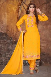 Picture of Pleasant Mustard Yellow Colored Partywear Suit
