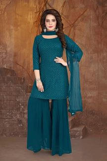 Picture of Adorning Teal Blue Colored Partywear Palazzo Suit