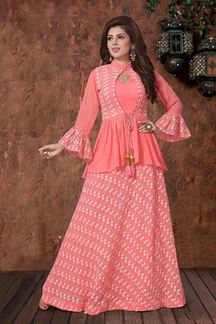 Picture of Timeless Peach designer Georgette lehenga choli