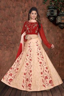Picture of Preferable Red &  Peach Colored Embroidered Lehenga Choli