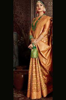 Picture of Groovy Beige Colored Banarasi Silk Saree