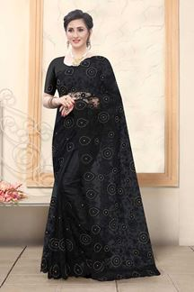 Picture of Black Colored Net With Embroidery Work Saree