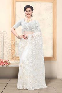 Picture of White Colored Net With Embroidery Work Saree