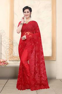 Picture of Red Colored Net With Embroidery Work Saree