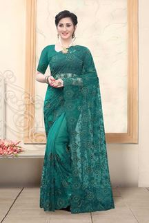 Picture of Teal Green Colored Net With Embroidery Work Saree
