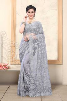 Picture of Grey Colored Net With Embroidery Work Saree