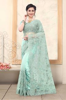 Picture of Sky Blue Colored Net With Embroidery Work Saree