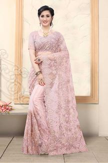 Picture of Pink Colored Net With Embroidery Work Saree