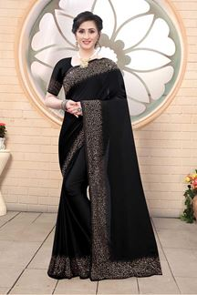 Picture of Black Colored Satin Designer Saree