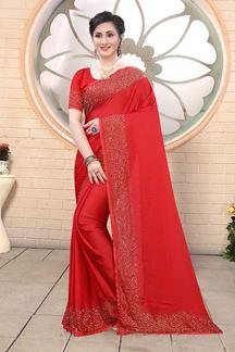 Picture of Red Colored Satin Designer Saree
