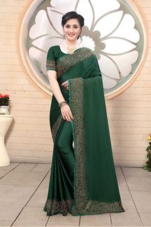 Picture of Bottle Green Colored Satin Designer Saree