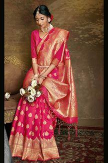 Picture of Pink Colored Banarasi Silk Saree