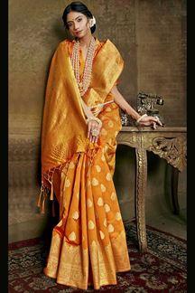 Picture of Orange Colored Banarasi Silk Saree