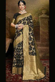 Picture of Black Colored Banarasi Silk Saree