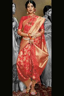 Picture of Designer Red Colored Banarasi Silk Saree