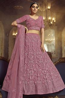 Picture of Stylee Lifestyle Pink Colored Net Lehenga Choli
