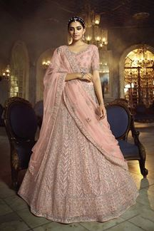 Picture of Elegant Net Lehenga Choli In Peach