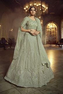 Picture of Graceful Green Colored Partywear Net Lehenga Choli