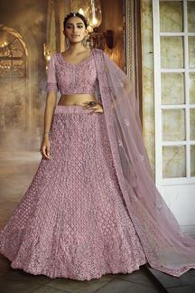 Picture of Ideal Pink Colored Party Wear Embroidered Net Lehenga Choli