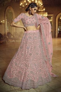 Picture of Appealing Pink Colored Net Legenga Choli