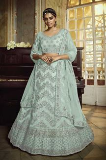 Picture of Gorgeous Sky Blue Colored Party Wear Net Lehenga Choli