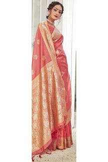 Picture of Pink Colored Wedding Wear Banarasi Silk Saree