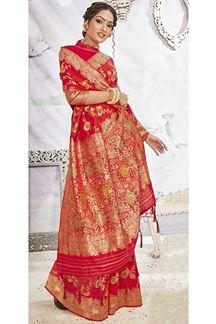 Picture of Wedding Wear Red Colored Banarasi Silk Saree