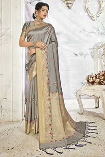 Picture of Wedding Wear Grey Handloom Banarasi Silk Saree