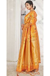 Picture of Orange Colored Banarasi Silk Saree For Wedding Functions