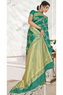 Picture of Green Colored Banarasi Silk Saree For Wedding Functions