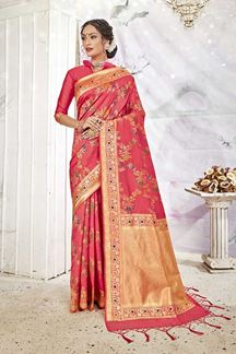 Picture of Pink Colored Banarasi Silk Saree For Wedding Functions