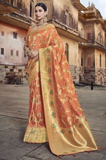 Picture of Orange Colored Dola Silk Wedding Saree With Tassels