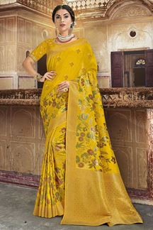 Picture of Yellow Colored Dola Silk Wedding Saree With Tassels