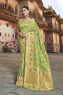 Picture of Parrot Green Colored Dola Silk Wedding Saree With Tassels