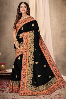 Picture of Gorgeous Black Colored Partywear Satin Saree
