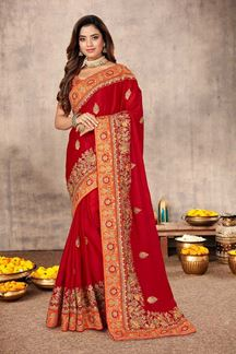 Picture of Graceful Red Colored Festive Wear Satin Silk Saree