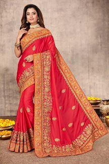 Picture of Unique Gajari Colored Festive Wear Satin Saree