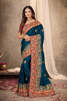 Picture of Captivating Peacock Blue Colored Festive Wear Satin  Saree