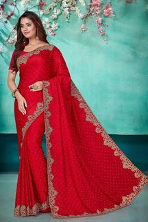 Picture of Rani Pink Color Party Wear Satin Saree