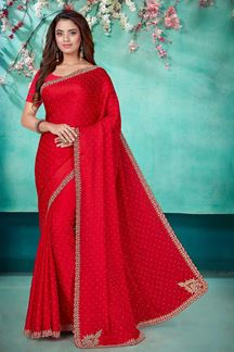 Picture of Captivating Pink Color Designer Work Saree