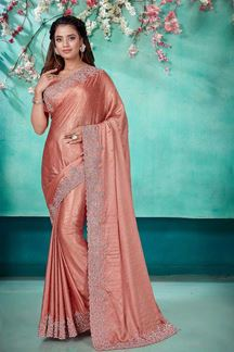 Picture of Peaches Pink  Color Shimmer  Georgette Saree