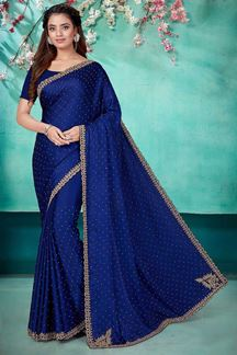 Picture of Blue Color Single Satin Designer Saree