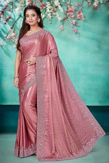 Picture of Baby Pink Colored Shimmer Georgette Saree