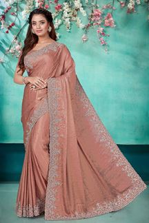 Picture of Sweet Chiku Color Shimmer  Georgette Saree