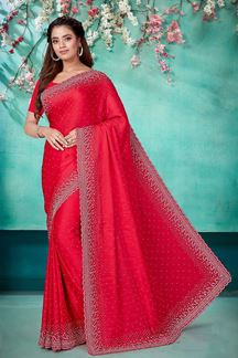 Picture of Pink Color Fancy Satin Fabric Designer Saree